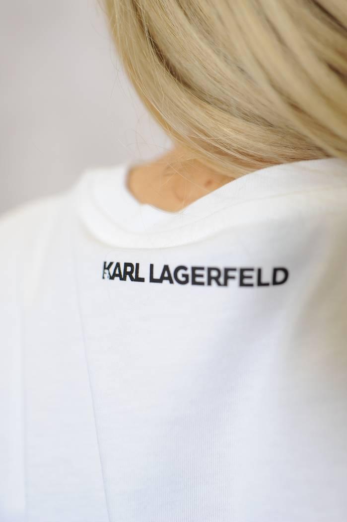 BLUZKA KARL LAGERFELD 216W1730 BIAŁA Z KRÓTKIM RĘKAWEM